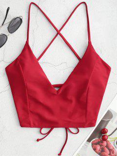 ZAFUL Crisscross Lace-up Cropped Bikini Top - Lava Red L