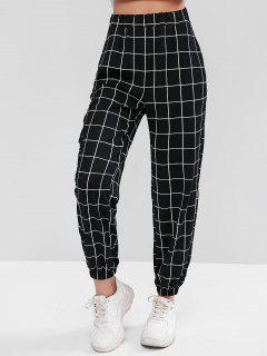 High Waist Plaid Jogger Pants - Black L