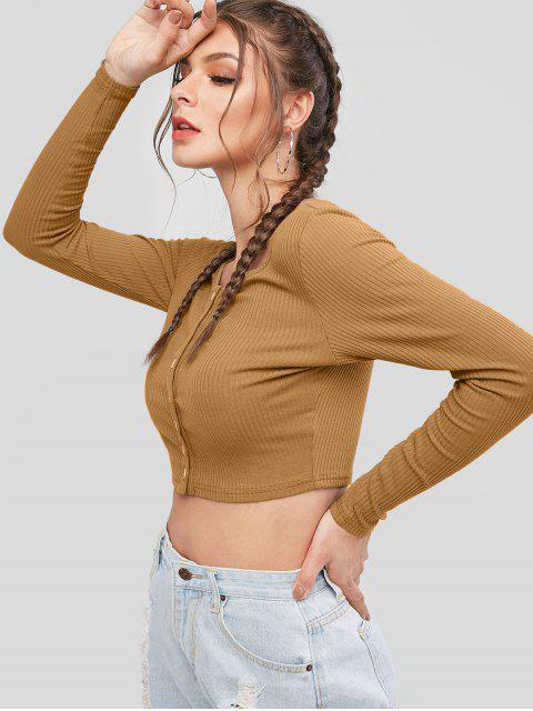 affordable ZAFUL Button Up Ribbed Crop Tee - LIGHT BROWN L Mobile
