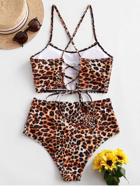 Bañador Tankini fruncido con cordones de leopardo ZAFUL - Multicolor-C 2XL Mobile