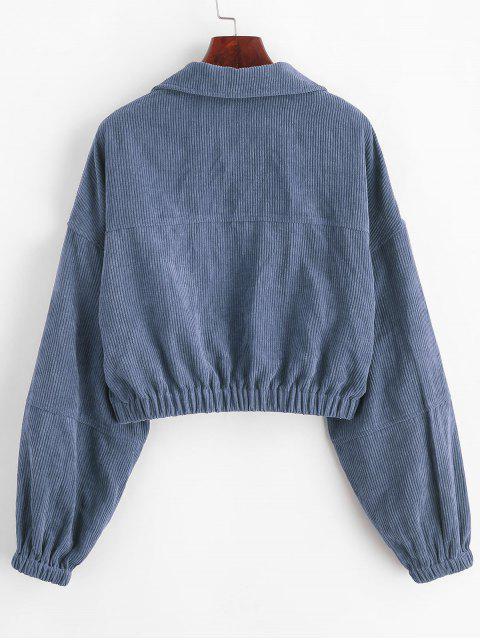 best ZAFUL Corduroy Pocket Pull Ring Drop Shoulder Jacket - SLATE BLUE M Mobile
