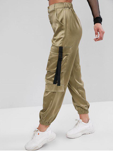 Pantalones de chándal de satén con hebilla y botón a presión - Caqui Oscuro M Mobile