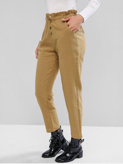 Pantalones de bolsa de papel rectos mosca de botón sólido ZAFUL - Tan S Mobile