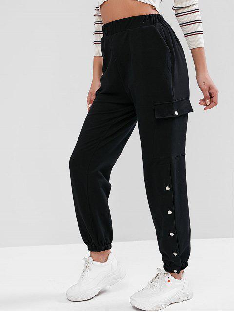 Pantalones de chándal de cintura alta bordados con letras - Negro S Mobile