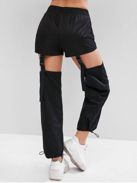 Pantalones sólidos con hebilla de presión - Negro S Mobile