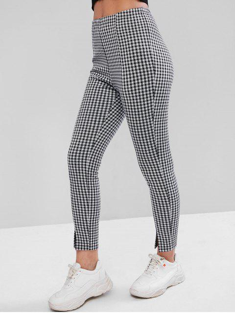 unique ZAFUL Glen Check Slit Leggings - MULTI-A L Mobile