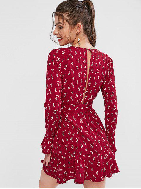 fancy ZAFUL Long Sleeve Ditsy Floral Ruffles Mini Dress - RED S Mobile