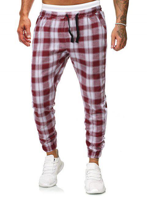 fashion Contrast Trim Striped Drawstring Jogger Pants - RED S Mobile
