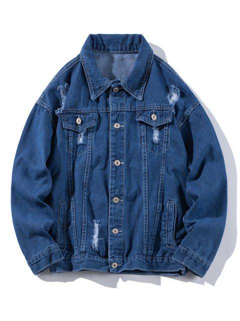 Veste Déchirée avec Simple Poitrine en Denim - Bleu profond XL Mobile