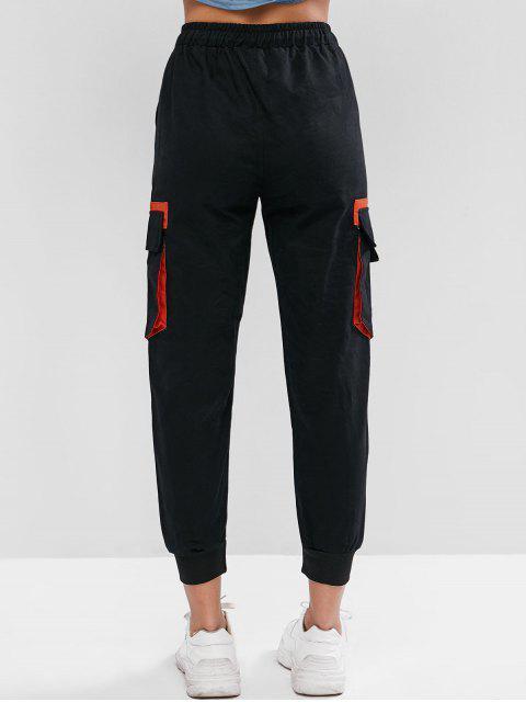 Lema con cordón Bolsillos con solapa remendados Pantalones de jogger - Negro M Mobile