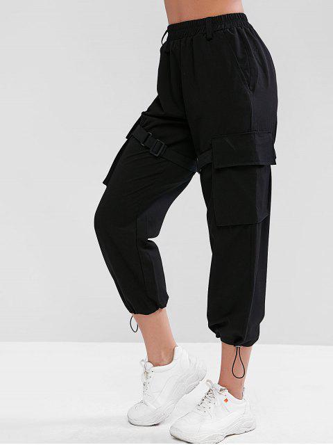 Hebilla de cinturón bolsillos pantalones anchos - Negro S Mobile