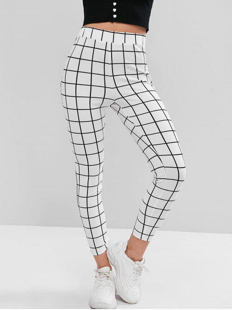 shop ZAFUL Checked Leggings - WHITE XL Mobile