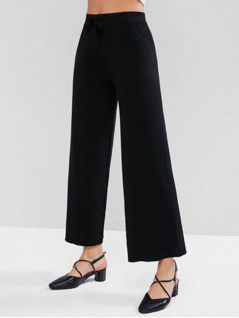 Pantalones de punto de pierna ancha con lazo de cintura alta - Negro Talla única Mobile