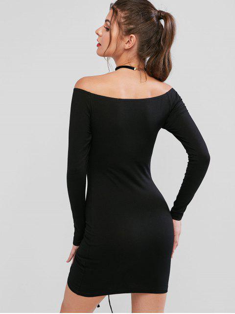 sale Off Shoulder Cinched Bodycon Solid Dress - BLACK L Mobile