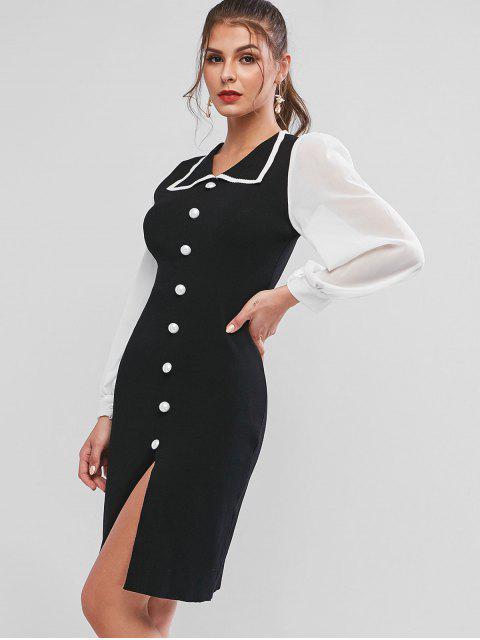 Robe Fourreau Bicolore Fendue Tricotée en Mousseline Transparente - Noir Taille Unique Mobile