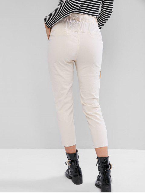 巾着生裾刺繍ポケットペンシルパンツ - 白 M Mobile