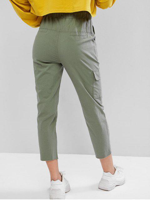 Pantalones de lápiz con bolsillo bordado con dobladillo crudo con cordón - Ejercito Verde XL Mobile