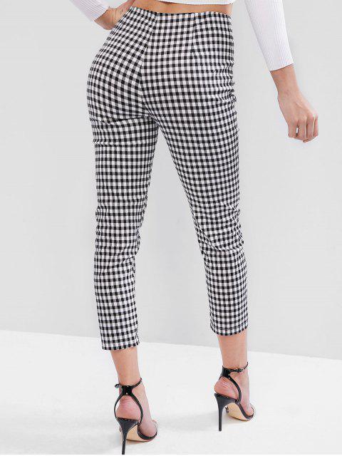 Pantalones pitillo con cremallera y cuadros vichy - Negro M Mobile