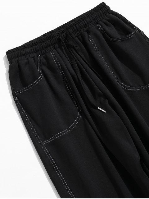 online Drawstring Graphic Jogger Pants - BLACK M Mobile