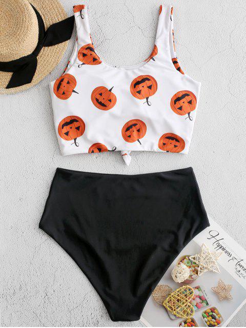 ZAFUL هالوين القرع طباعة العقدة Tankini ملابس السباحة - أسود L Mobile