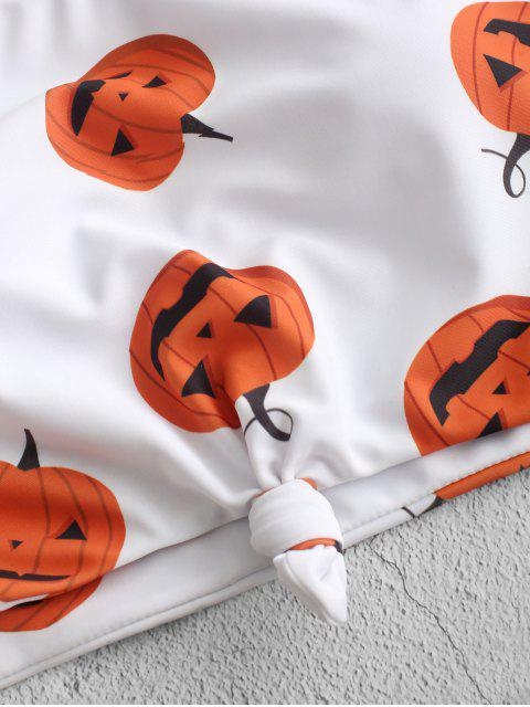 new ZAFUL Halloween Pumpkin Print Knot Tankini Swimsuit - BLACK L Mobile