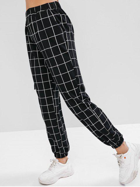 fancy High Waist Plaid Jogger Pants - BLACK S Mobile