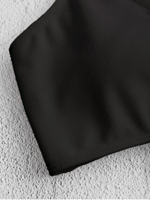 Bikini Top Smerlato con Lacci Incrociati di ZAFUL - Nero L Mobile