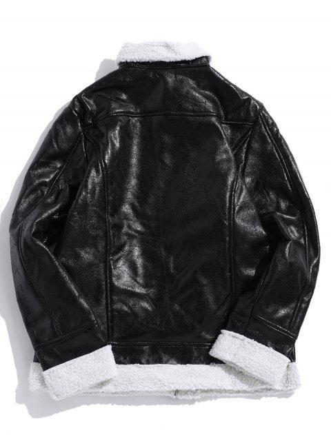 trendy Contrast Spliced Zipper Faux Fur False Leather Jacket - BLACK XS Mobile