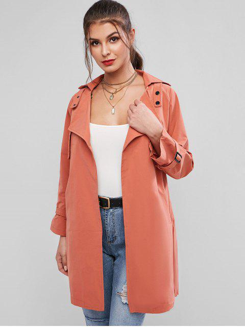 new Turndown Collar Belted Pocket Tie Cuff Trench Coat - TIGER ORANGE S Mobile
