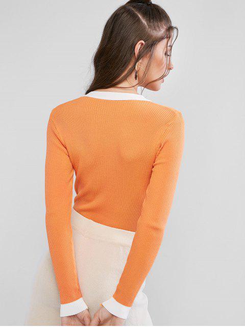 online Ribbed Contrast Half Placket Slim Sweater - DARK ORANGE ONE SIZE Mobile