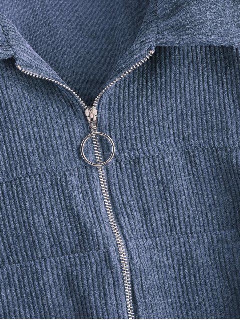 buy ZAFUL Corduroy Pocket Pull Ring Drop Shoulder Jacket - SLATE BLUE L Mobile