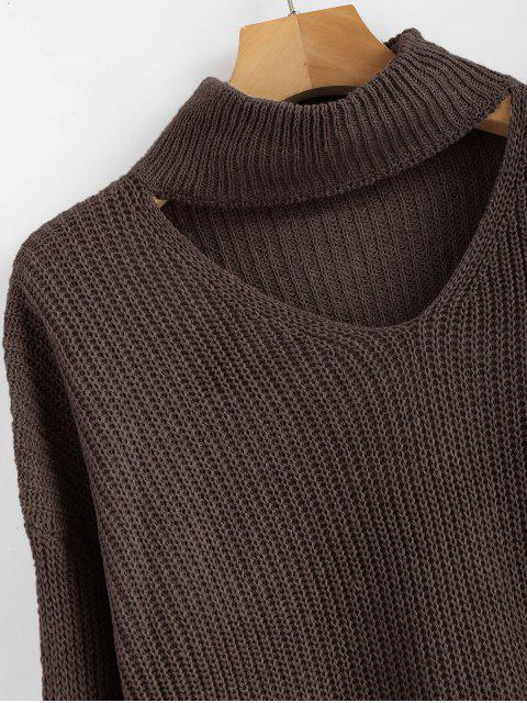 shop ZAFUL Lace Up Plain Keyhole Sweater - BROWN ONE SIZE Mobile
