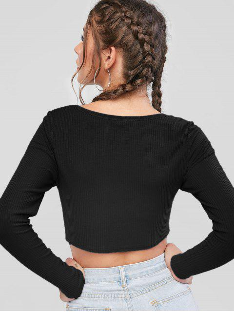 chic ZAFUL Button Up Ribbed Crop Tee - BLACK M Mobile