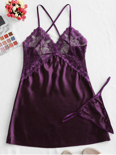 women Crisscross Lace-trimmed Satin Chemise - PURPLE IRIS L Mobile