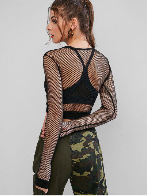 fashion See Through Fishnet Long Sleeves Crop Top - BLACK S Mobile
