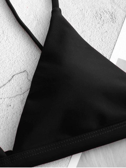 shop ZAFUL Thin Strap Plunge Bikini Top - BLACK M Mobile