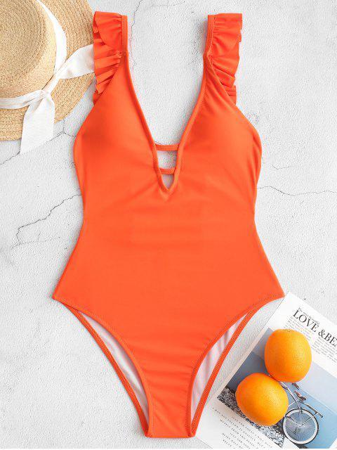 ZAFUL volante Escalera Corte sin respaldo de una sola pieza del traje de baño - Naranja Brillante L Mobile