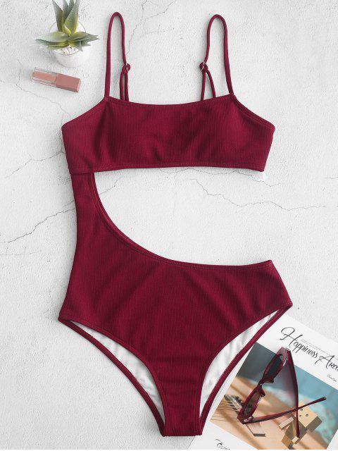 ZAFUL fotografica acanalado de una pieza del traje de baño - Vino Tinto XL Mobile