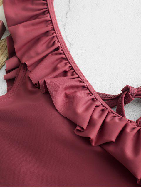 ZAFUL С оборкой Глубокий воротник Слитный Купальник - Розово-коричневый L Mobile