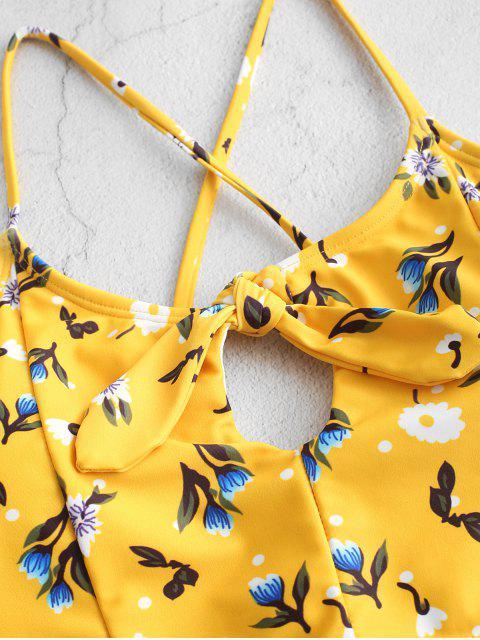 trendy ZAFUL Floral Knotted Criss Cross High Cut Tankini Swimsuit - RUBBER DUCKY YELLOW M Mobile