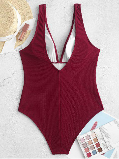 lady ZAFUL Plunge Ribbed One-piece Swimsuit - CHESTNUT S Mobile