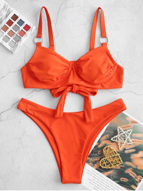 latest ZAFUL Tie Back O Ring High Leg Bikini Swimsuit - PUMPKIN ORANGE S Mobile