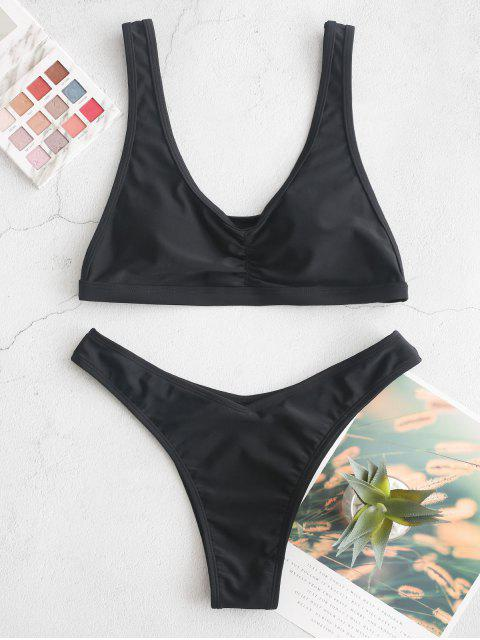 ZAFUL Maillot de Bain Bikini à Jambe Haute à Volants - Noir S Mobile