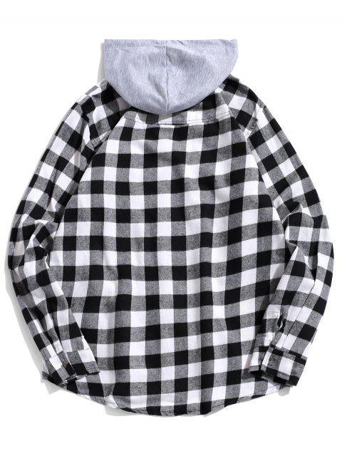 unique Plaid Pocket Curved Hem Contrast Color Spliced Hooded Shirt - BLACK M Mobile