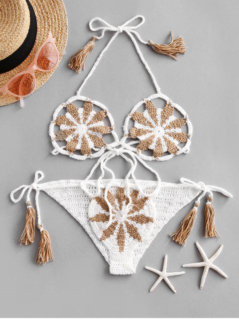 fancy Halter Tassel Floral Crochet String Bikini Swimsuit - WHITE ONE SIZE Mobile
