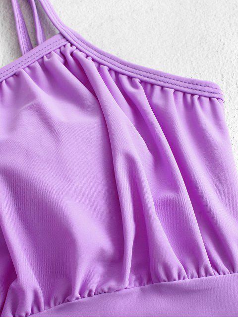 ZAFUL acanalada High Cut Cami Tankini del traje de baño - Heliotropo Púrpura 2XL Mobile