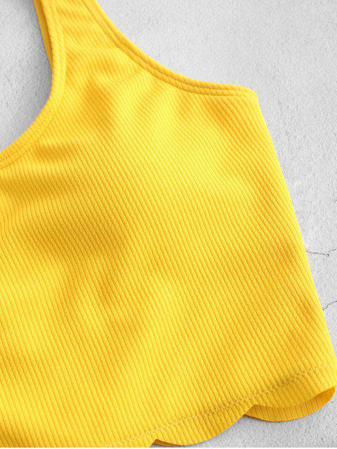ZAFUL festoneado acanalado High Cut Tankini del traje de baño - Amarillo M Mobile