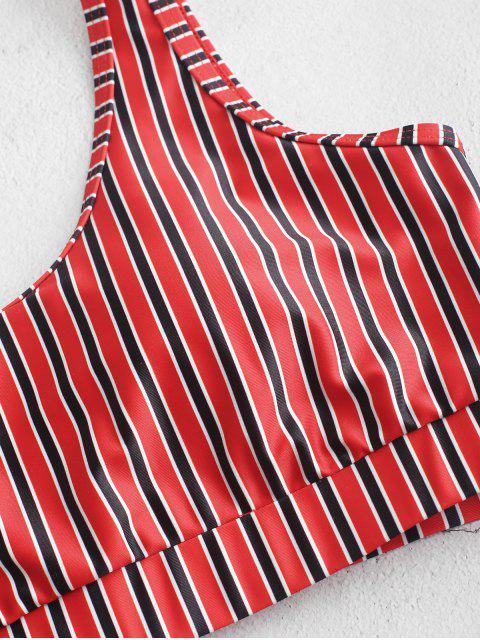 ZAFUL rayas de talle alto con relleno de Tankini del traje de baño - Multicolor-A XL Mobile