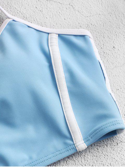 ZAFUL tuberías ata para arriba el traje de baño de Tankini de talle alto - Azul de Koi L Mobile