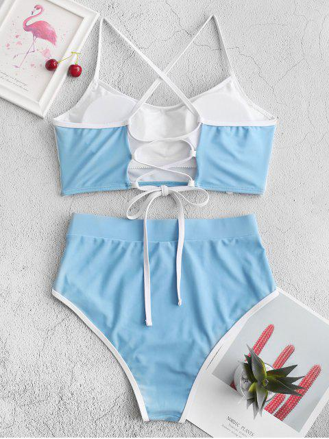 ZAFUL tuberías ata para arriba el traje de baño de Tankini de talle alto - Azul de Koi S Mobile